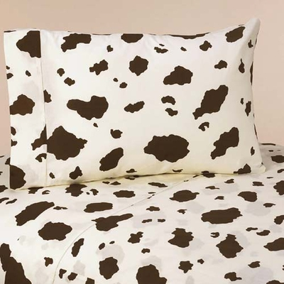 Cowgirl Queen Sheet Set - Cow Print