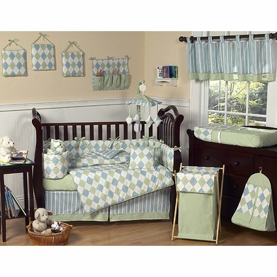 Argyle Green Blue Crib Bedding Collection
