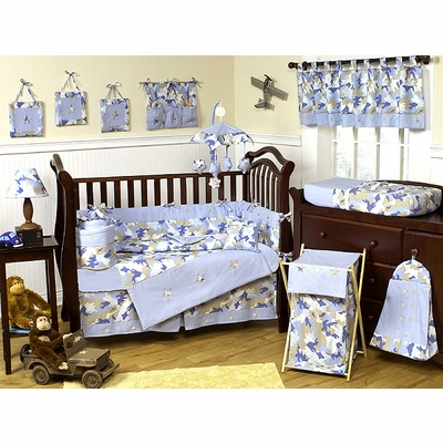 Camo Blue Crib Bedding Collection