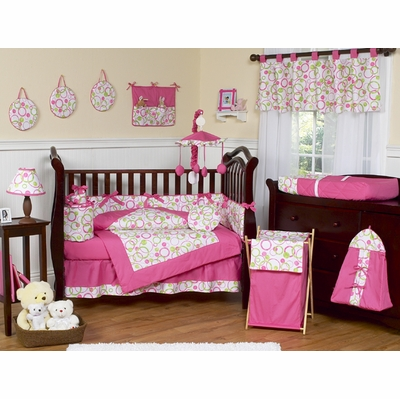 Circles Pink Crib Bedding Collection