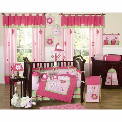 Flower Pink and Green Crib Bedding Collection
