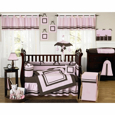 Hotel Pink and Brown Crib Bedding Collection