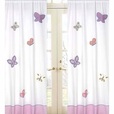 Butterfly Pink and Lavender Window Panels - Set of 2