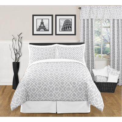 Diamond Gray and White Full/Queen Bedding Collection