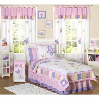 Butterfly Pink and Lavender Full/Queen Bedding Collection