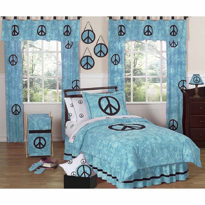 Peace Blue Twin Bedding Collection
