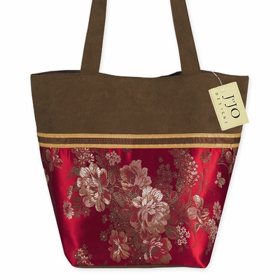 Red Oriental Asian Tote Handbag