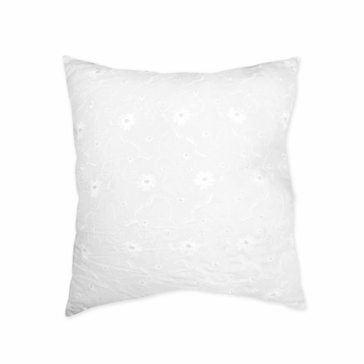 Eyelet White Decorative Accent Throw Pillow