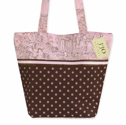Pink and Brown Polka Dot and French Toile Handbag