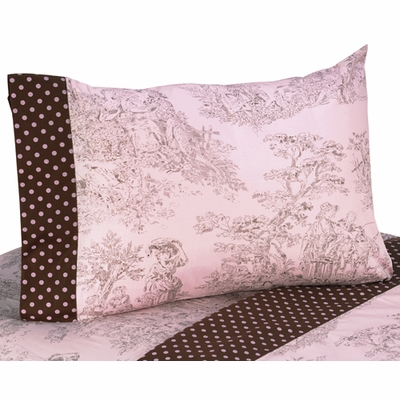Pink Brown Toile Queen Sheet Set