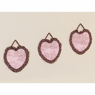 Pink Brown Toile Wall Hangings