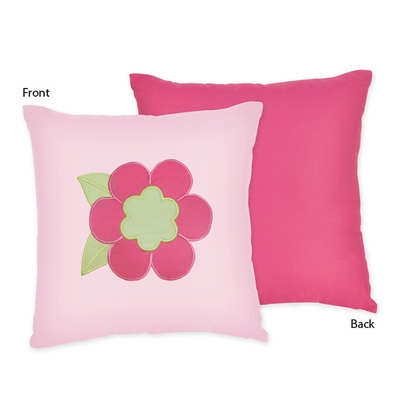 Flower Pink and Green Decorative Accent Throw Pillow