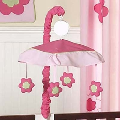 Flower Pink and Green Musical Mobile