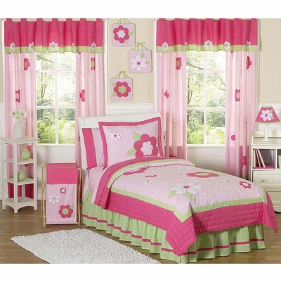 Flower Pink and Green Twin Bedding Collection