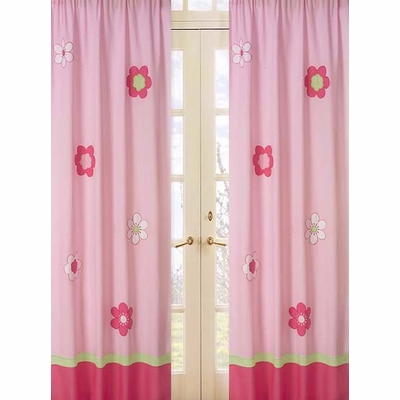 Flower Pink and Green Window Panels - Set of 2