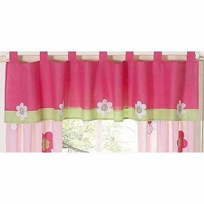 Flower Pink and Green Window Valance