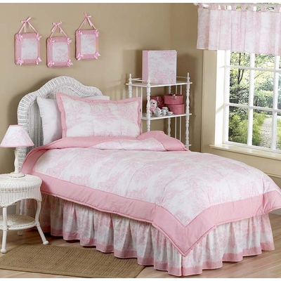 Pink Toile Twin Bedding Collection