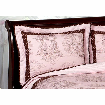 Pink Brown Toile Pillow Sham