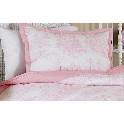 Pink Toile Pillow Sham