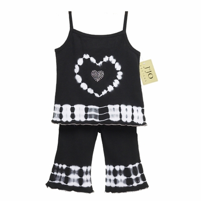 2pc Black and White Tie Dye Crystal Heart Outfit