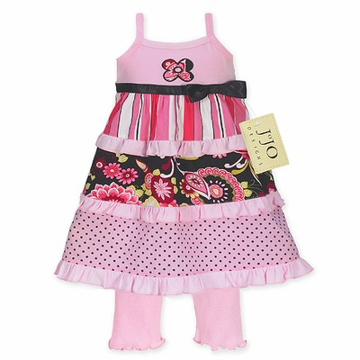 2pc Pink and Black Floral, Stripe and Polka Dot Baby Girls Outfit or Dress
