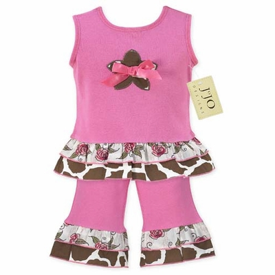 2pc Giraffe Print Baby Girls Outfit