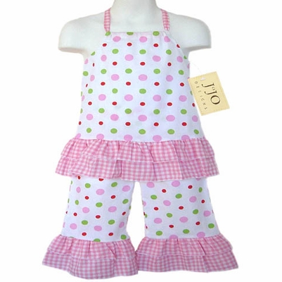 2pc Pink, Green, and White Polka Dot Halter Outfit