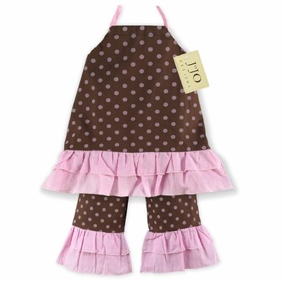 2pc Pink and Brown Polka Dot Baby Outfit