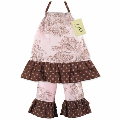 2pc Pink and Brown French Toile Baby Outfit