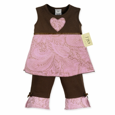 Pink and Brown Paisley Baby Girls Boutique Outfit