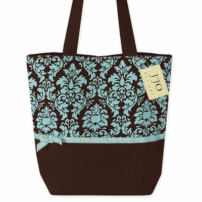 Turquoise and Brown Damask Print Spa Tote Handbag