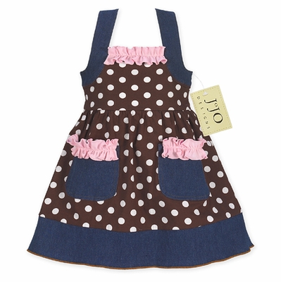 Pink and Brown Polka Dot Blue Jean Baby Girls Dress