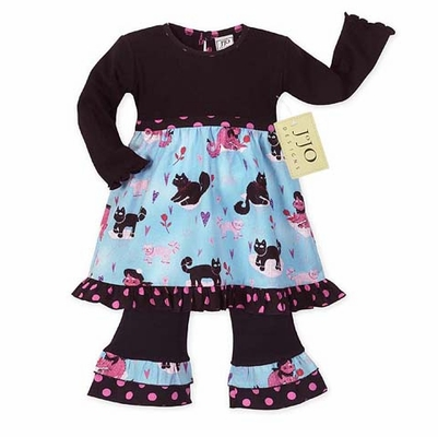 Boutique Kitty Cat Baby Girls Infant 2pc Set or Dress