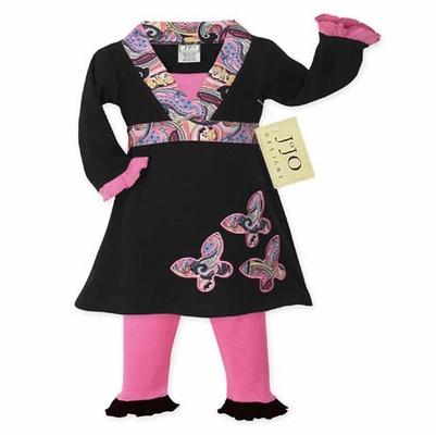Pink and Black Butterfly Baby Girls Infant 2pcSet or Dress