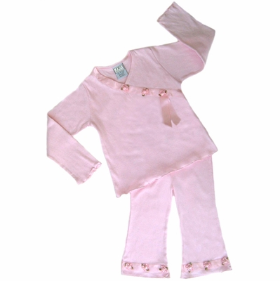 2pc Baby Girls Satin Ribbon Roses Outfit