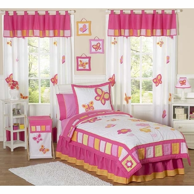 Butterfly Pink and Orange Full/Queen Bedding Collection