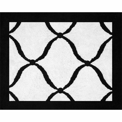 Princess Black, White and Green Collection Accent Floor Rug