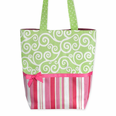 Pink and Green Stripes and Dots Large Tote Handbag
