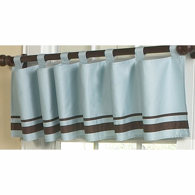 Hotel Blue and Brown Window Valance