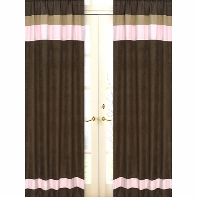 Soho Pink and Brown Window Panels - Set of 2