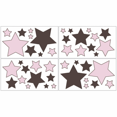 Hotel Pink and Brown Wall Decals - Set of 4 Sheets