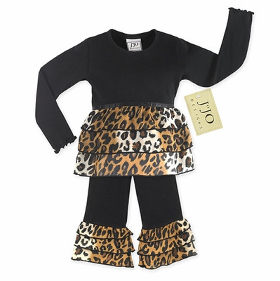 2pc Black and Brown Designer Leopard Baby Girls Outfit