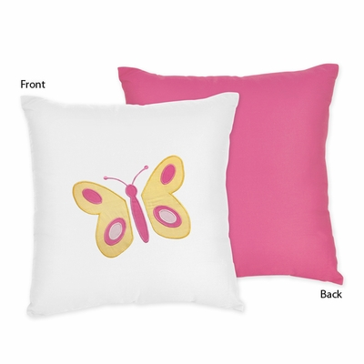 Butterfly Pink and Orange Decorative Accent Throw Pillow