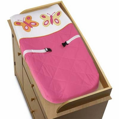 Butterfly Pink and Orange Changing Pad Cover