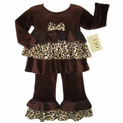 Chocolate and Cream Designer 2pc Leopard Rumba Baby Girls Outfit