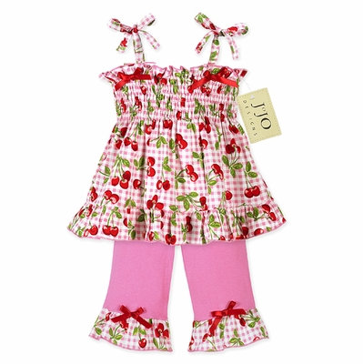 2pc Pink and Green Cherry Smocked Baby Outfit