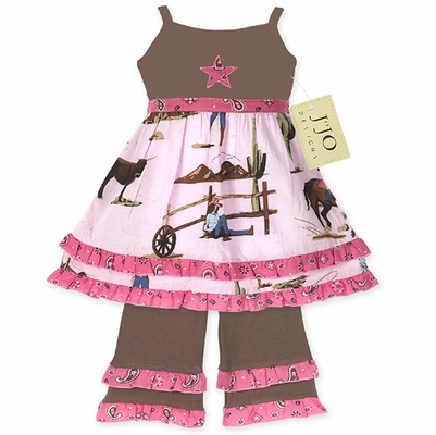 Western Cowgirl Baby Girls 2pc Set or Dress