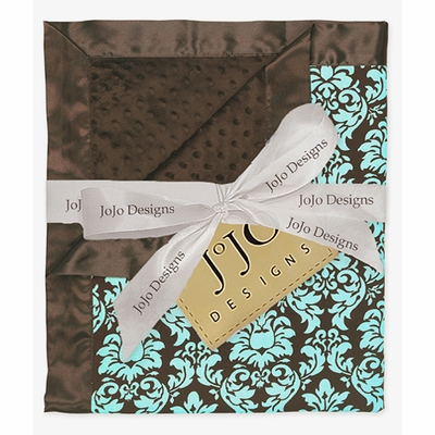 Bella Turquoise Damask Minky Suede and Satin Baby Blanket