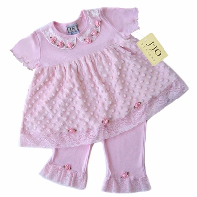 Boutique 2pc Pink Minky Dot Chenille Outfit