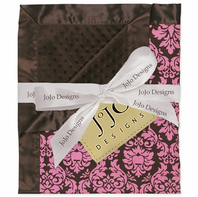 Bella Pink Damask Minky Suede and Satin Baby Blanket
